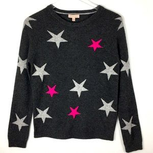 🆕 New with tags Gray CASHMERE Hot Pink Star Graphic Sweater